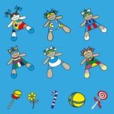 Установите куклы младенца значков в различных платьях иллюстрация вектора