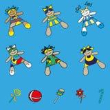 Установите куклы младенца значков в различных платьях Стоковые Фотографии RF