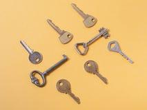 Установите ключи сортированные od различные на деревянной предпосылке Стоковая Фотография RF