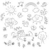 установите лето эскиза иллюстрация вектора