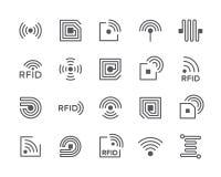 Установите линии значков обломока RFID Антенна, цепь, бирка, провод, радиотелеграф и больше бесплатная иллюстрация