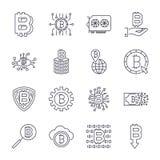 Установите линии значков bitcoin вектора Вклады, оплаты и обмен, банк интернета, бумажник, пачка денег, руки иллюстрация штока