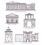 Установите линии изолированных греческих осмотр достопримечательностей ориентиров иллюстрация штока