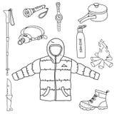 Установите линии иллюстрации инструментов лагеря вектора символов значка искусства на белой предпосылке бесплатная иллюстрация
