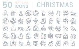 Установите линию значки вектора рождества бесплатная иллюстрация