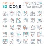Установите линию значки вектора 3D Bioprinting иллюстрация вектора