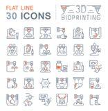 Установите линию значки вектора 3D Bioprinting бесплатная иллюстрация