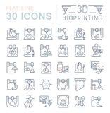 Установите линию значки вектора 3D Bioprinting иллюстрация штока