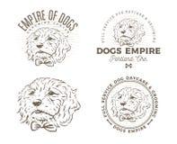 Установите логотипа и эмблем холить собаки стоковое изображение