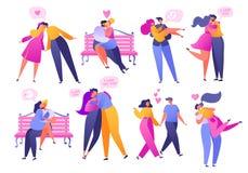 Установите людей в любов Валентайн датируя набор Романтичная иллюстрация вектора на теме любовной истории Счастливый плоский хара бесплатная иллюстрация