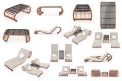 Установите мебель ротанга стоковые изображения