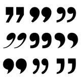 Установите метки цитаты, черного знака также вектор иллюстрации притяжки corel иллюстрация вектора