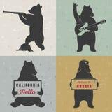 Установите медведей потехи знака Стоковые Изображения