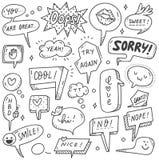 Установите милого пузыря речи в стиле doodle бесплатная иллюстрация