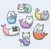 Установите милой русалки кота kawaii также вектор иллюстрации притяжки corel бесплатная иллюстрация