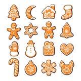 Установите милых печений рождества пряника Нарисованная рукой иллюстрация вектора бесплатная иллюстрация