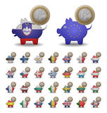 Установите монетки евро спасения Стоковое фото RF