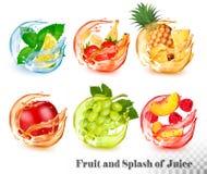 Установите мяты и плода в выплеске воды и сока Мята и лимон, клубника и банан, ананас, яблоко, виноградины, персик и иллюстрация вектора
