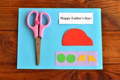 Установите на День отца поздравительной открытки отец счастливый s дня шаг Стоковые Фото