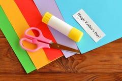 Установите на День отца поздравительной открытки отец счастливый s дня карточки шаг Стоковые Фото