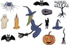Установите на хеллоуин Белая предпосылка Рисовать вручную вектор иллюстрация штока
