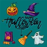Установите на хеллоуин с шляпой и другими вещами иллюстрация штока