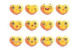 Установите 12 общее сердце сформировало emoji искусства пиксела в золотом цвете стоковая фотография rf