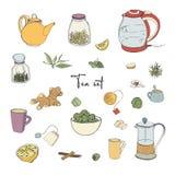 Установите объекты чаепития Собрание с чайником нарисованным рукой, опарником, лимоном, лист, чашкой, имбирем, циннамоном Вектор  Стоковая Фотография