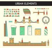 Установите объекты для того чтобы создать панораму Лондона, Англии Мост Стоковые Фотографии RF