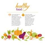 установите овощи Здоровая таблица еды иллюстрация штока