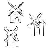 Установите логотипы мельниц Стоковое Изображение