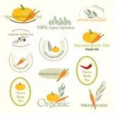 Установите логотип вегетарианской еды, вектор Стоковое Изображение