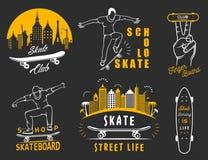 Установите логотип и значок вектора ретро Skateboarding Стоковая Фотография