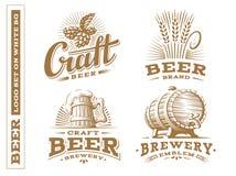 Установите логотип пива - vector иллюстрация, винзавод эмблемы дизайна иллюстрация вектора
