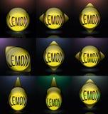 Установите логотип текста сферы лимона стеклянный Стоковое Изображение RF