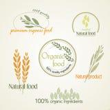 Установите логотип для органической еды, вектор Стоковая Фотография