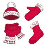 Установите одежд зимы изолированных на белой предпосылке Праздник моды Нового Года Сезонные одежды зимы Мода рождества стоковая фотография