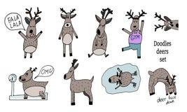 Установите оленей doodle Наивный стиль иллюстрация вектора