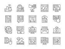 Установите онлайн линии значков образования Диплом, библиотека, Podcast Webinar, и больше иллюстрация вектора