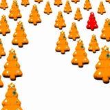 Установите оранжевых рождественских елок с красным изолированных на белой предпосылке цвета Изображение пути forestFlat кладет стоковое фото rf