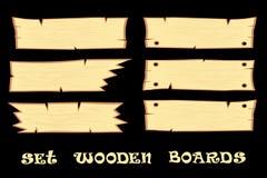Установите доски элементов дизайна s деревянные на черной предпосылке иллюстрация вектора