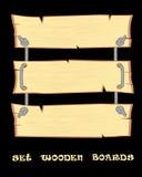 Установите доски элементов дизайна s деревянные для шильдика или афиши на черной предпосылке Стоковое фото RF