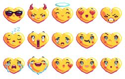 Установите 15 особенное сердце сформировало emoji искусства пиксела в золотом цвете стоковые изображения