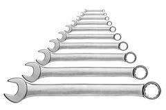 Установите открытый гаечный ключ накидного гаечного ключа Стоковая Фотография RF