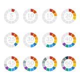 установите отметчики времени Покрашенные плоские значки также вектор иллюстрации притяжки corel Стоковое Изображение RF