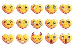 Установите 15 отрицательных эмоций сердце сформировало emoji искусства пиксела в золотом цвете стоковая фотография rf
