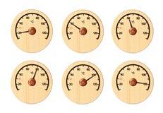 Установите от 6 деревянных термометров Стоковые Фото