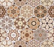 Установите от коричневых шестиугольных сделанных по образцу плиток Стоковое фото RF