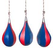 Установите от красных и голубых кожаных груш бокса Стоковое Фото