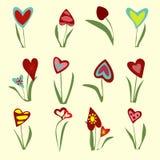 Установите от сердец на свете - желтой предпосылки flowerings Иллюстрация вектора